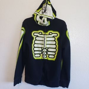 Tony Hawk Medium Sweatshirt Black Zip Up Skeleton